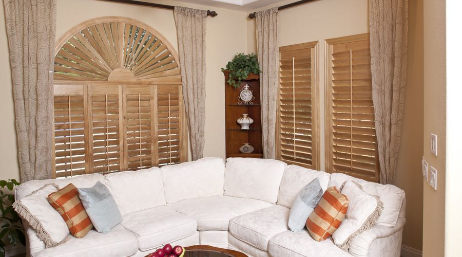 Arched Ovation Wood Shutters In Las Vegas Living Room