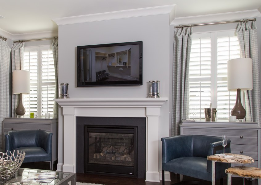 living room Las Vegas faux wood shutters