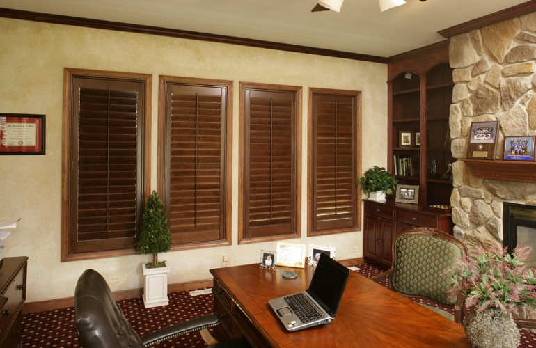 Hardwood plantation shutters in a Las Vegas home office