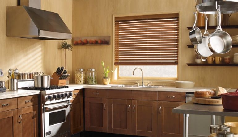 Las Vegas kitchen faux wood blinds.
