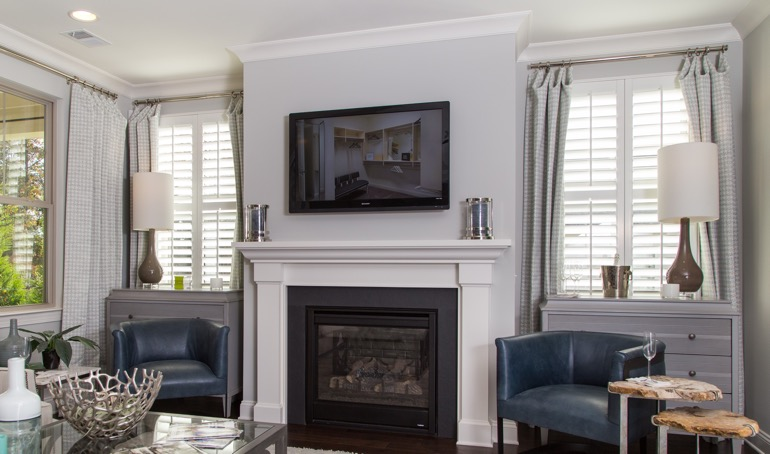 Las Vegas mantle with plantation shutters.