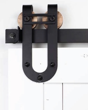 Black flat track for sliding barn door shutters
