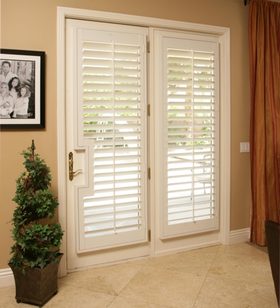 plantation shutters that are attached to your door