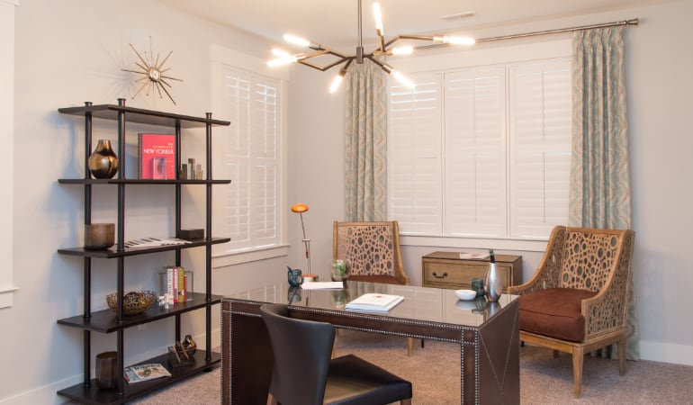 Las Vegas home office with plantation shutters.