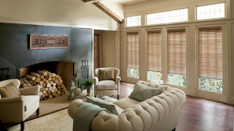 Las Vegas fireplace with blinds