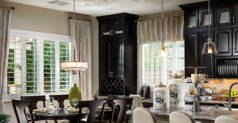 Las Vegas kitchen dining room with plantation shutters.
