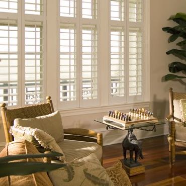 Las Vegas living room interior shutters.