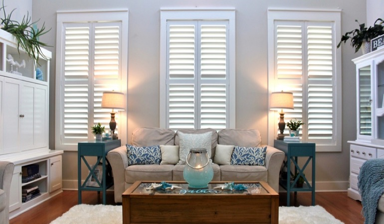 Las Vegas designer house with faux wood shutters