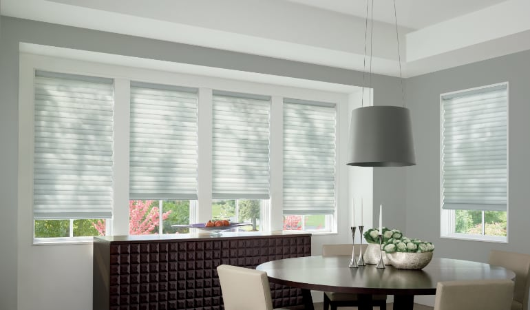 Cellular shades in a Las Vegas dining room.