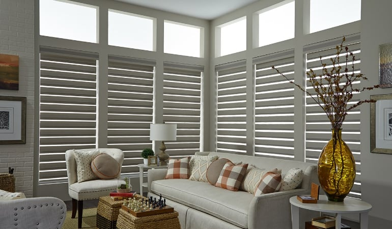 Motorized shades in a Las Vegas living room.