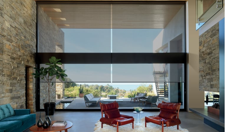 Motorized shades in a Las Vegas family room.