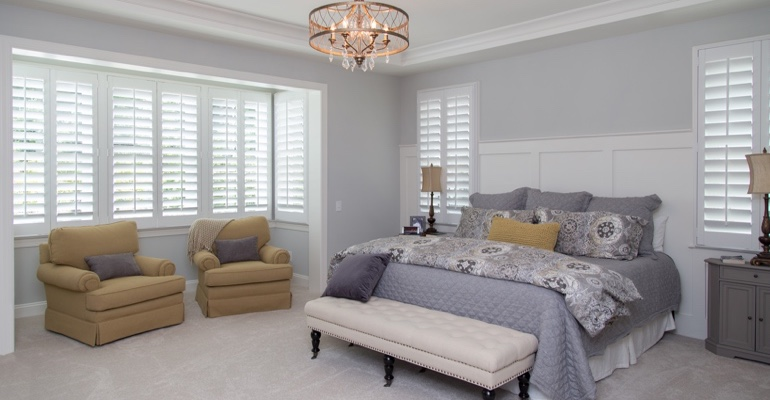 White shutters in Las Vegas bedroom.