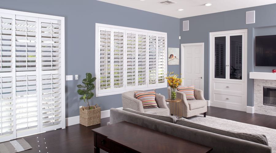 Faux Wood Shutters In blue Las Vegas Living Room
