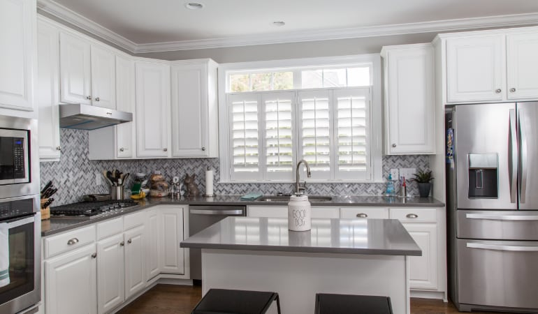 Polywood shutters in a Las Vegas gourmet kitchen.