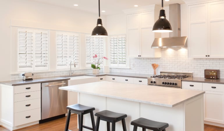 Plantation shutters in a bright Las Vegas kitchen.