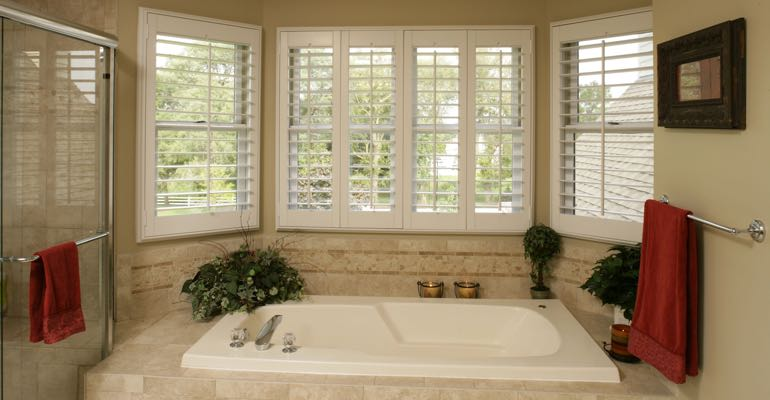 Plantation shutters in Las Vegas bathroom.