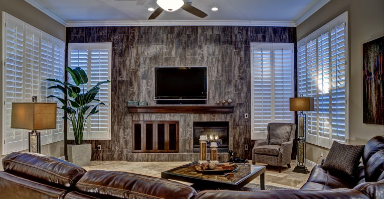 Las Vegas living room with shutters