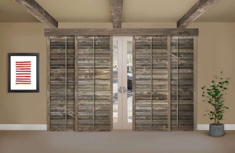 Reclaimed Wood Shutters On A Sliding Glass Door In Las Vegas - Reclaimed Wood Shutters For Sale Sunburst Shutters Las Vegas, NV