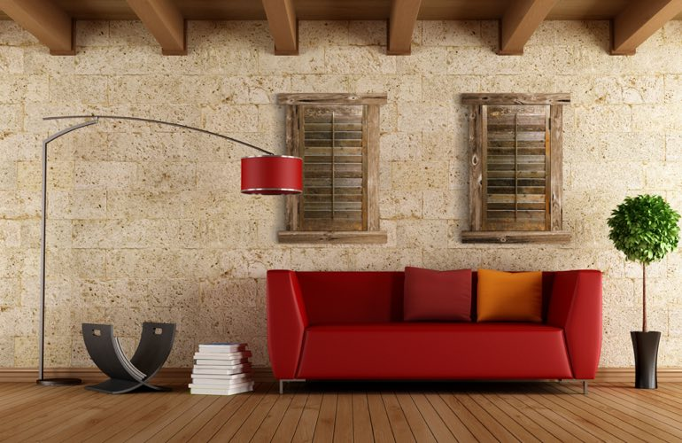 Reclaimed Wood Shutters In A Las Vegas Living Room