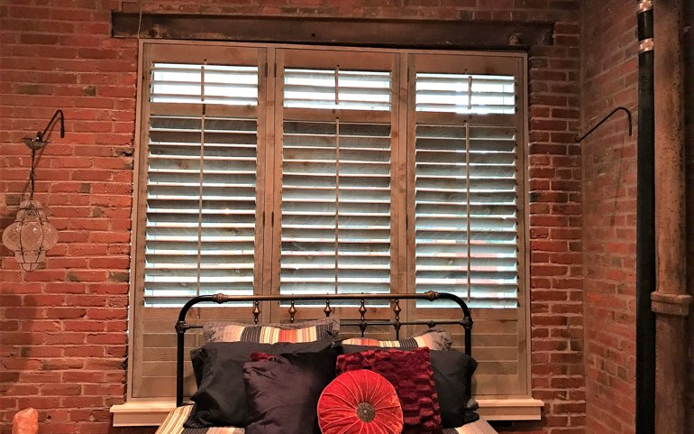 repurposed wood shutters in Las Vegas apartment - Reclaimed Wood Shutters For Sale Sunburst Shutters Las Vegas, NV