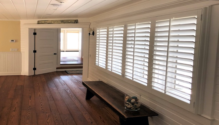 Faux wood plantation shutters in Las Vegas