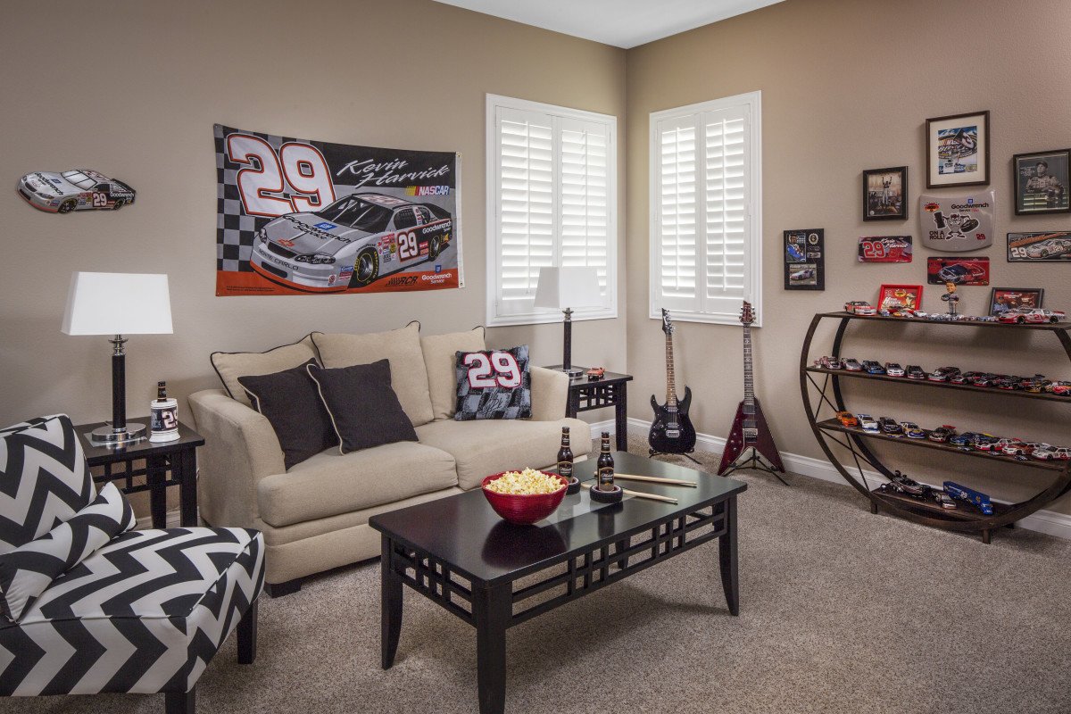 Las Vegas man cave with shutters