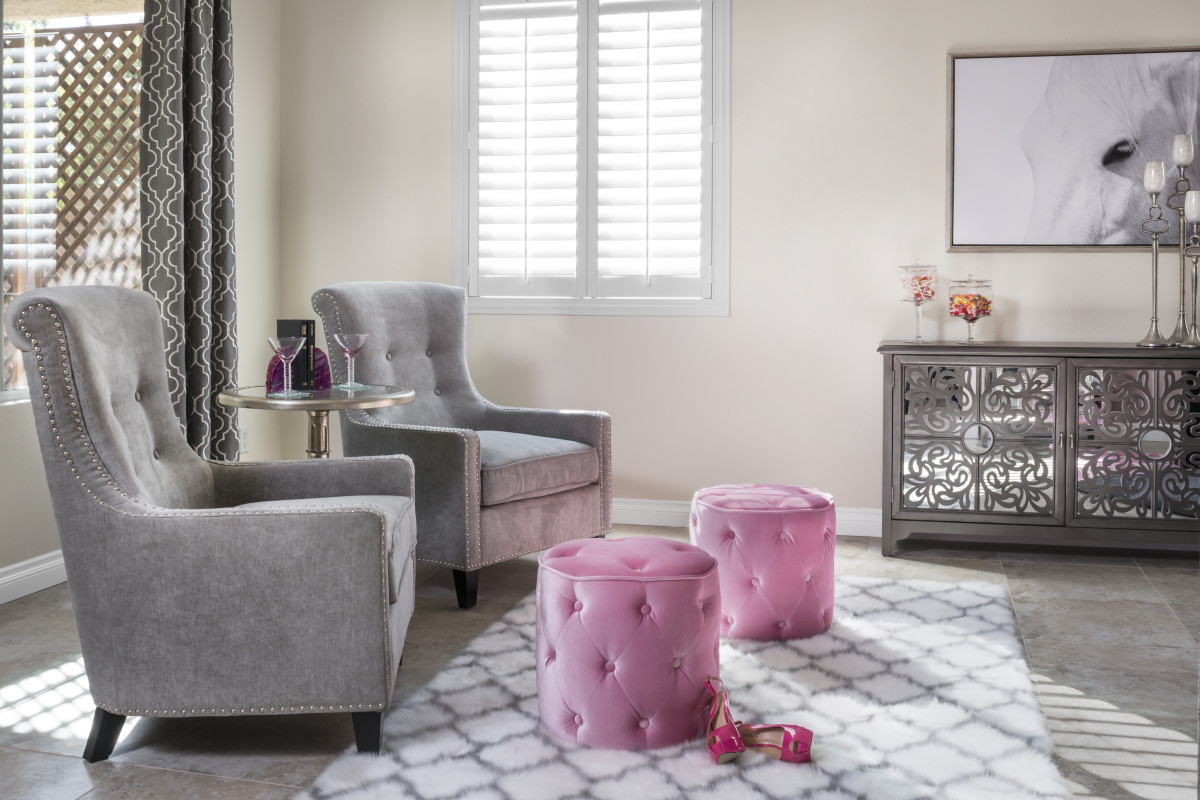 Las Vegas pink living room with shutters