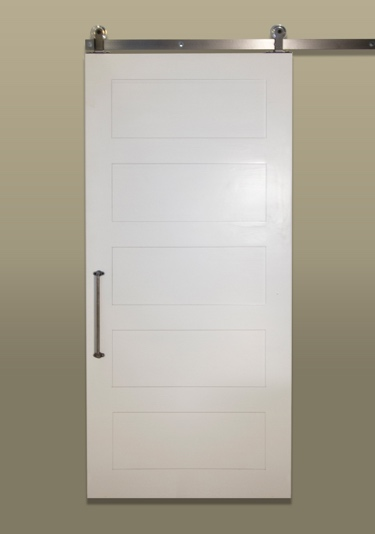 Five panel sliding barn door with metal track