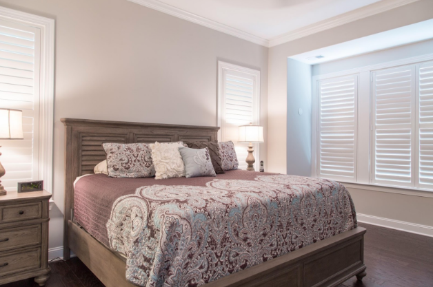 Las Vegas bedroom with light block shutters