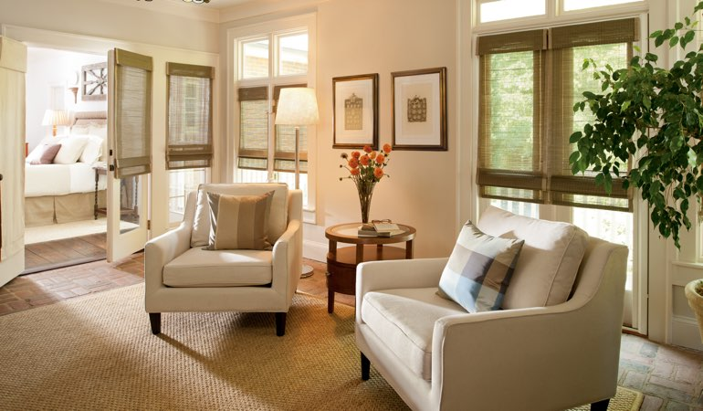 Shades in a neutral living room