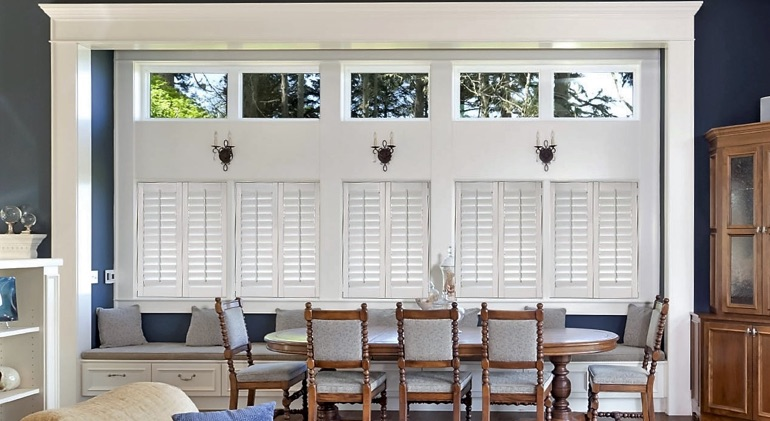 Closed studio plantation shutters in Las Vegas dining room.