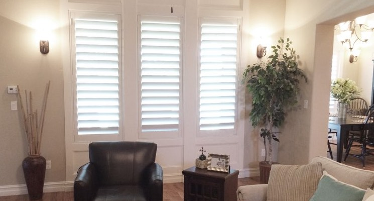 Las Vegas living room white shutters