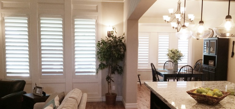 Las Vegas shutters in dining room and great room