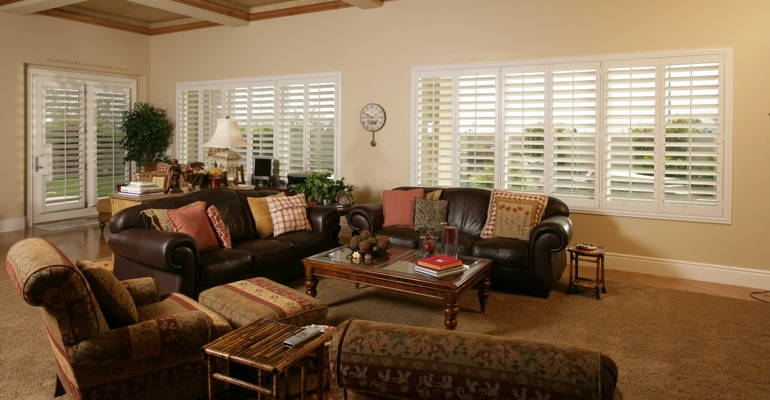 Las Vegas great room with polywood shutters.