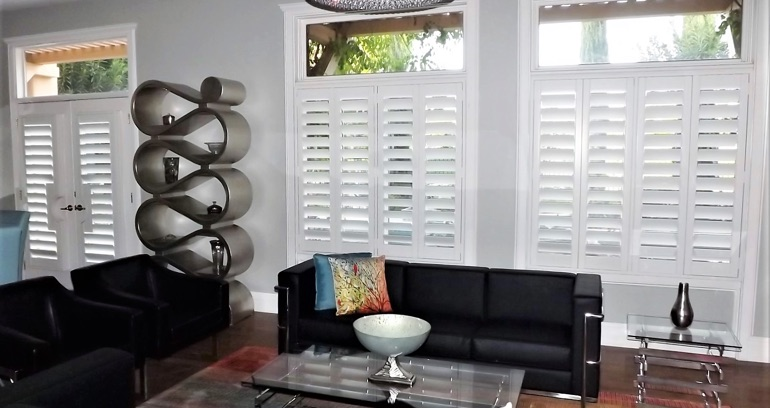 Las Vegas DIY shutters in living room.