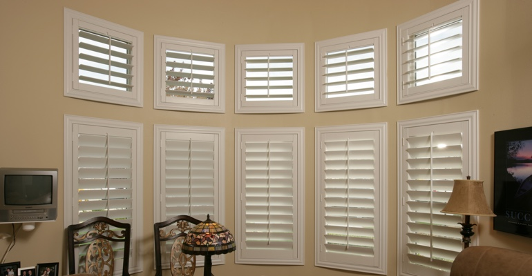 Bay window shutters Las Vegas home office