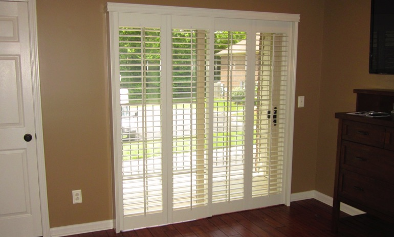 Las Vegas sliding door bifold shutters in patio