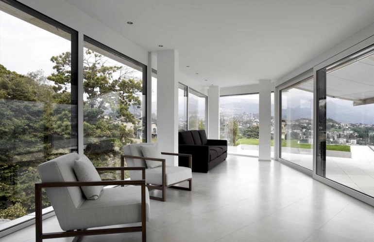 A modern home with window film