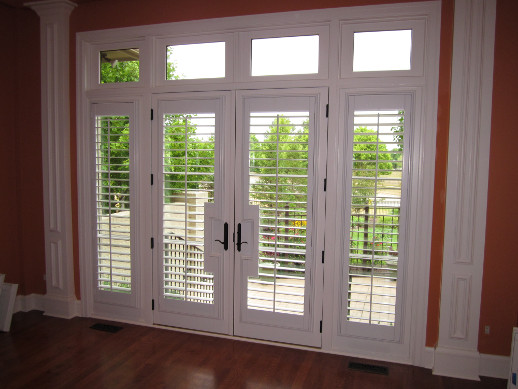 Las Vegas patio door with sidelight shutters