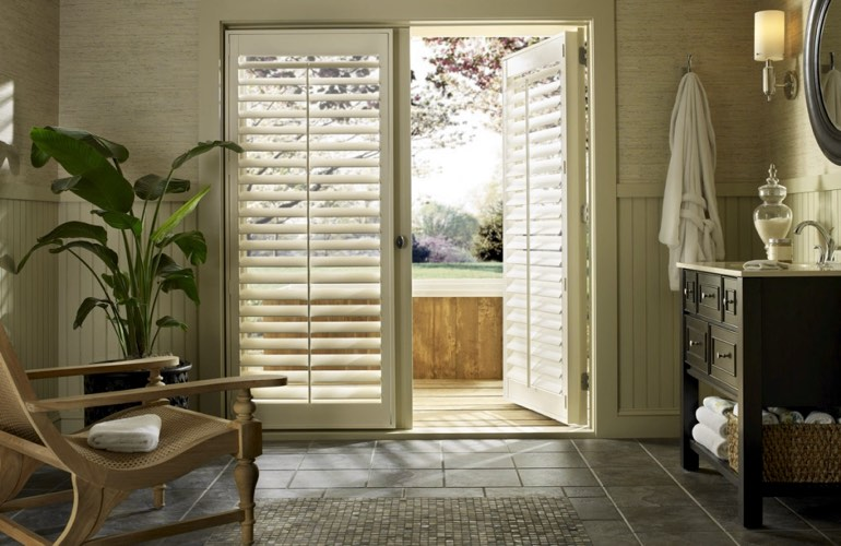 Plantation Shutters On The Other Hand Donu0027t Have To Worry About That.  Instead Of Cluttering Up Your Patio Door, Shutters Are More Like Part Of  The Door ...