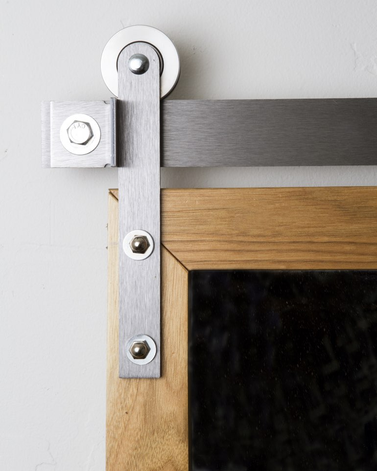 Metal mini modern hanger on wooden barn door