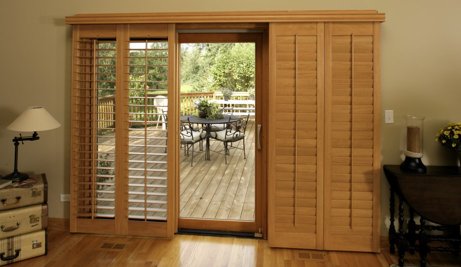 Bypass Wood Patio Door Shutters In A Las Vegas Living Room