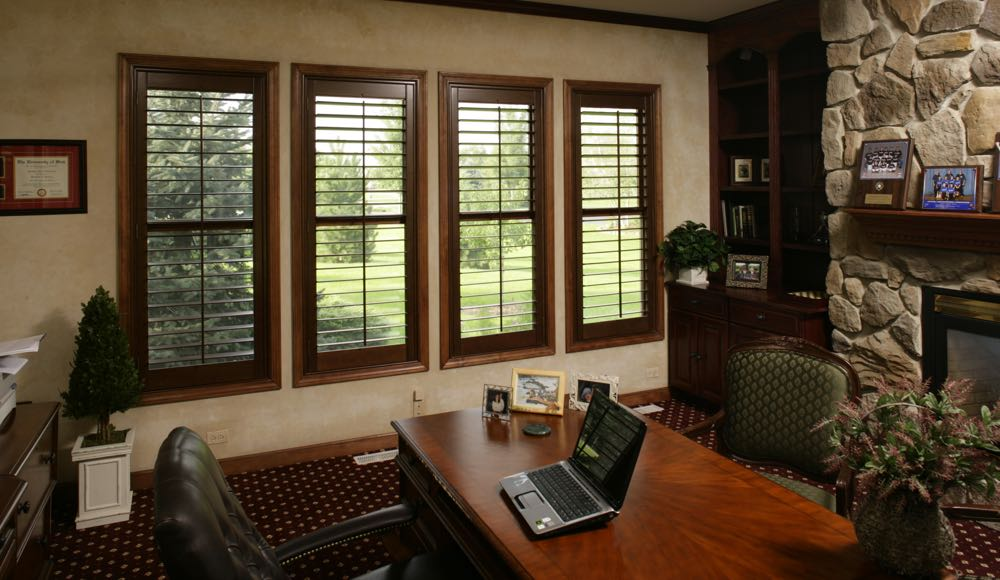 Natural Wood Shutters In A Las Vegas Office At Home.