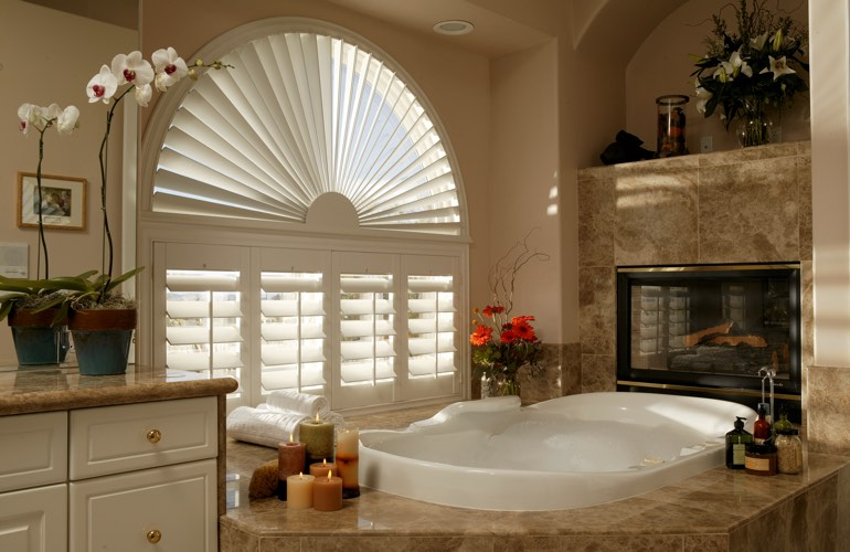 Our Professionals Installed Shutters On A Sunburst Arch Window In Las Vegas, NV